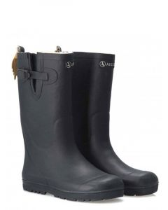 Aigle Woody Pop Fur Lined Welly Boots for Children in Marine (Navy Blue)