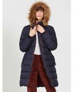 Aigle Rigdown Long Down Winter Coat, Dark Navy