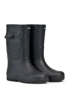 Aigle Woody Pop, Fur Lined Children's Welly Boot, Marine