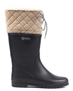 Aigle Polka Giboulee Fur Lined Boot - Marine/Beige - 375644