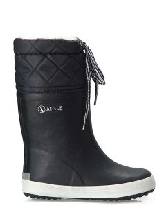 Aigle Children's Giboulee Welly Boot with Faux Fur Lining, Marine