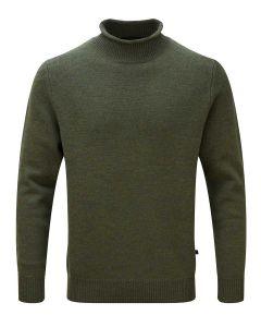 Alan Paine Fordwich Merino Wool Rolled Collar Sweater, Seaweed