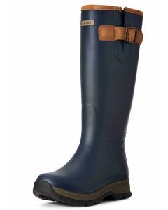 Ariat Women's Burford Welly Boot, Navy Blue with Tan Leather Trim