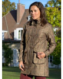 Baleno Ladies Darlington Tweed Jacket, Khaki Tweed Check