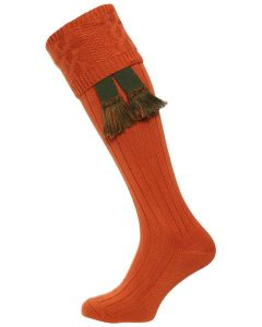 The Berrington 'Burnt Orange' Cotton Cable Top Shooting Sock