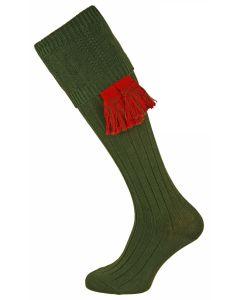 The Berrington 'Seaweed Green' Cotton Cable Top Shooting Sock