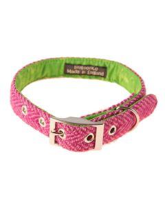 Pink Harris Tweed Dog Collar, Benbecula