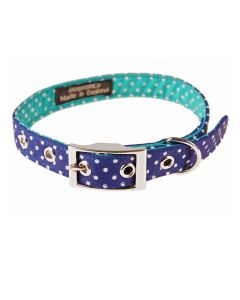 BlossomCo Bertie Blue Spotty Dog Collar