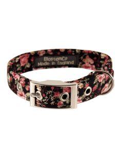 BlossomCo Polly Floral Print Black Dog Collar