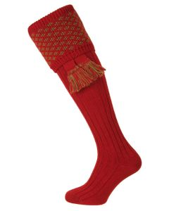 The Boughton Shooting Sock Brick Red and Moss
