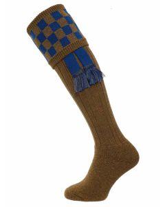 The Bowmore Mk 2 Cushion Foot Shooting Sock - Khaki Ibiza & Mid Blue