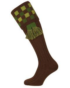 The Brockington Shooting Sock with Garter, Dark Natural