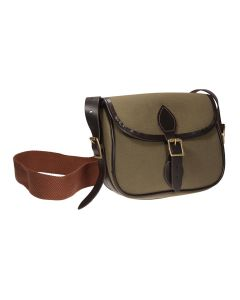 Green, Canvas Cartridge Bag with Leather Detailing. Available in 75 or 100 Cartridge.