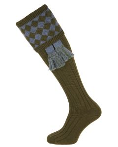 The Chessboard 'Spruce & Blue Mix' Shooting Sock