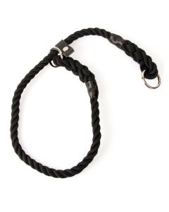 Matt Black, 10 mm Rope Slip Dog Collar with Leather Stopper