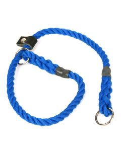 Matt Blue, 8mm Rope Slip Dog Collar with Leather Stopper