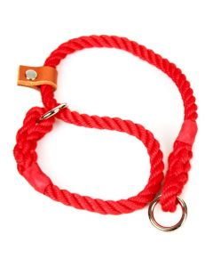 Matt Red, 8 mm Rope Slip Dog Collar with Leather Stopper