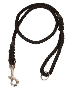 8mm Rope Dog Lead with Clip and Ring, Matt Black