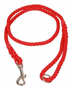 8mm Rope Dog Lead with Clip and Ring, Matt Red