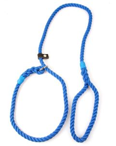 Matt Blue, 10mm Rope Slip Dog Lead with Leather Stop