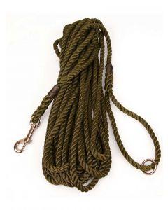 8mm Rope Gun Dog Training Line, 10.5 metres long, Olive Green