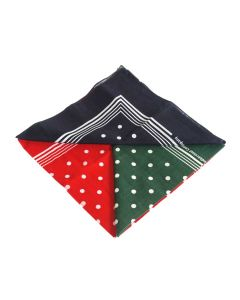 Red, Bottle Green, Navy - Large Spotted Handkerchief Triple Set