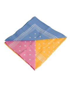 Large Traditional Spotted Handkerchief Set; Pink, Yellow, Baby Blue Spots