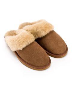Women's Luxury Sheepskin Mule Slippers, Chestnut Brown. Sizes UK 3 - UK 8