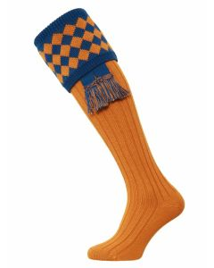 The Fownhope Shooting Sock with Garter - Ochre & Mid Blue