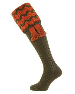 Spruce with Burnt Orange Grafton Shooting Socks with Garter