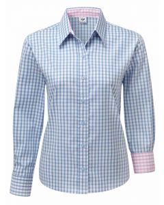 Women's Blue Check Easy Care Relaxed Fit Cotton shirt by Grenouille