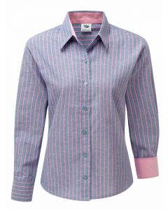 Women's Oxford Cotton Shirt, Blue with Pink Stripe