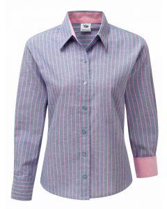 Women's Oxford Cotton Shirt, Blue with Pink Stripe