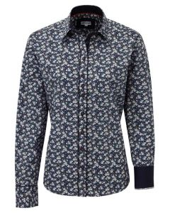 Grenouille Ladies Relaxed Fit Cotton Shirt, Navy Elegant Floral
