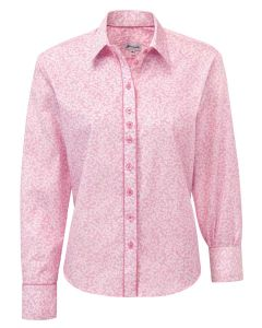 Pink Rose Bloom Print Women's Cotton Shirt by Grenouille