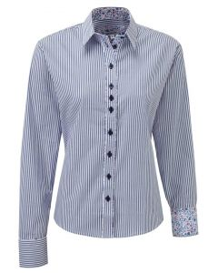 Grenouille Relaxed Fit Cotton Shirt, Blue & White Stripe Delight