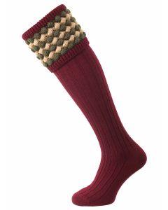 The Angus Shooting Sock, Burgundy with Bracken