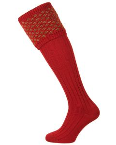House of Cheviot - The Boughton Shooting Sock - Brick Red & Moss