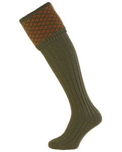 Spruce and Burnt Orange Boughton Shooting Sock from The House of Cheviot