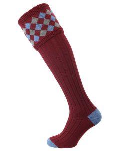The Chequers Shooting Socks, Burgundy
