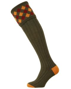 The Chequers Shooting Sock - Spruce
