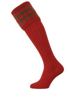 The Chessboard Shooting Sock - Brick Red & Spruce - Medium