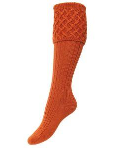 The Lady Rannoch Shooting Sock - Burnt Orange