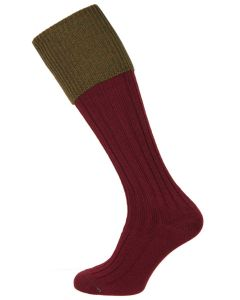 The Lomond Shooting Sock. Burgundy & Bracken