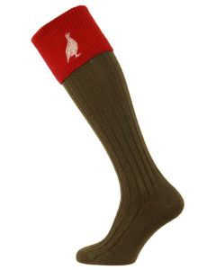 The Lomond Shooting Sock with Grouse Embroidery - Spruce & Brick Red