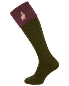 The Lomond 'Spruce & Thistle' Shooting Sock with Grouse Embroidery