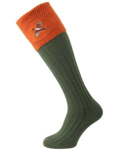 House of Cheviot - The Lomond Embroidered Shooting Sock - Spruce & Burnt Orange Pheasant