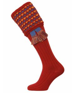 The Honeycomb Shooting Sock with Garter - Brick Red