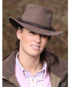 Jacaru Suede Highlander Bush Hat with Plaited Leather Hat Band, Brown