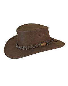 Jacaru Leather Buffalo Hat, Brown